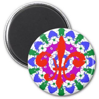 Flor de lis del rojo de la muestra del maleficio imanes para frigoríficos