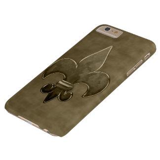 Flor de lis del terciopelo del oro funda de iPhone 6 plus barely there