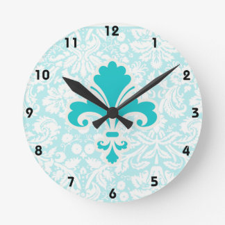 Flor de lis del trullo reloj redondo mediano
