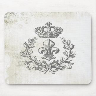 Flor de lis del vintage y cojín del Corona-ratón Tapete De Raton