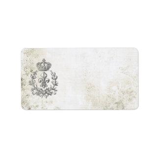 Flor de lis del vintage y etiqueta de la Corona-di Etiqueta De Dirección