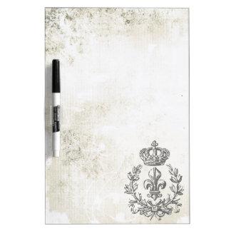 Flor de lis del vintage y tablero Corona-Seco del  Pizarras Blancas De Calidad