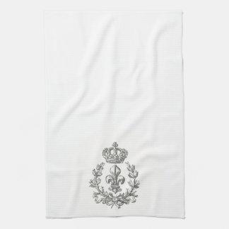 Flor de lis del vintage y toalla de la Corona-coci