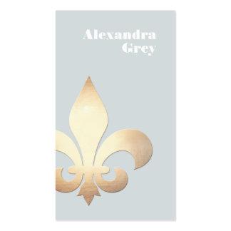Flor de lis elegante de la hoja de oro gris clara tarjetas de visita