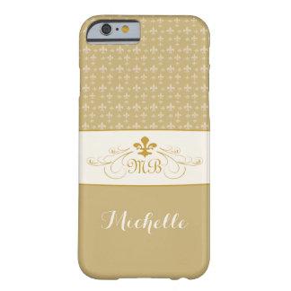 Flor de lis elegante del blanco del oro funda de iPhone 6 barely there