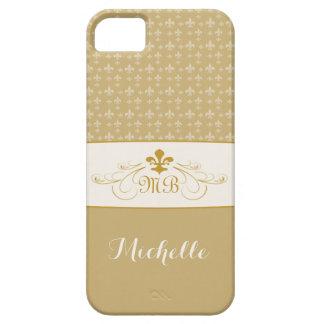 Flor de lis elegante del oro iPhone 5 carcasa