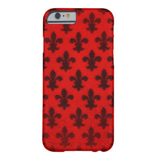 Flor de lis elegante negra roja real del negocio funda barely there iPhone 6
