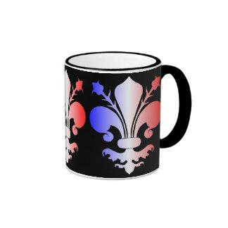 Flor de lis en azul blanco y rojo taza