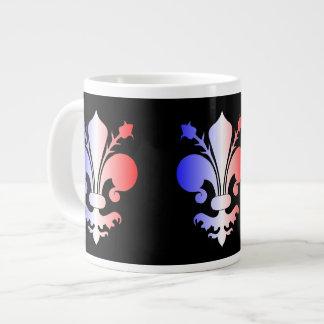 Flor de lis en azul blanco y rojo tazas jumbo
