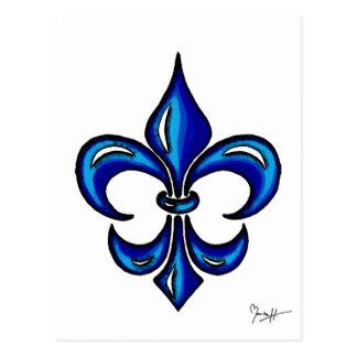Flor de lis en azul postales