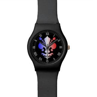 Flor de lis en blanco y azul rojos relojes de pulsera