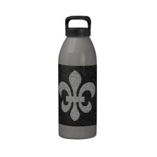 flor de lis en efecto reluciente blanco negro botellas de agua reutilizables