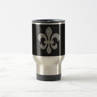 flor de lis en efecto reluciente blanco negro tazas de café