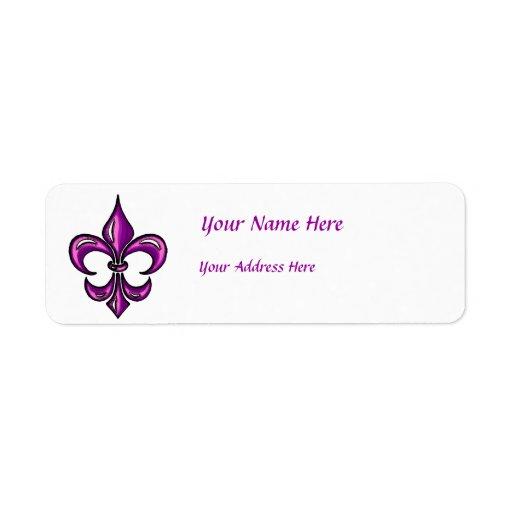 Flor de lis en lavanda púrpura etiqueta de remitente