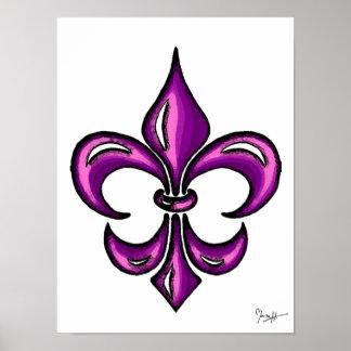 Flor de lis en lavanda púrpura póster