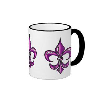 Flor de lis en lavanda púrpura tazas