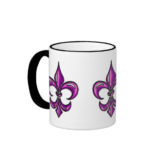 Flor de lis en lavanda púrpura taza a dos colores