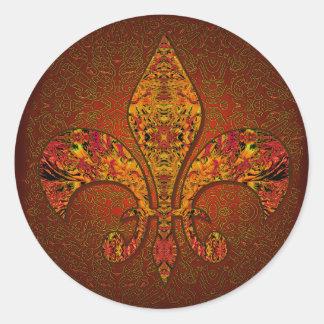 Flor-De-Lis escudo flor-lirio dinástico capa-d Etiqueta Redonda