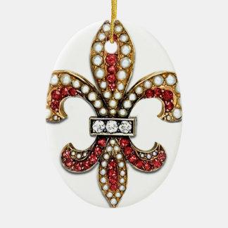 Flor De Lis Fleur De Lis Jewel new orleans Double-Sided Oval Ceramic Christmas Ornament
