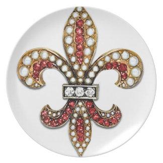 Flor De Lis Fleur De Lis Jewel new orleans Party Plates