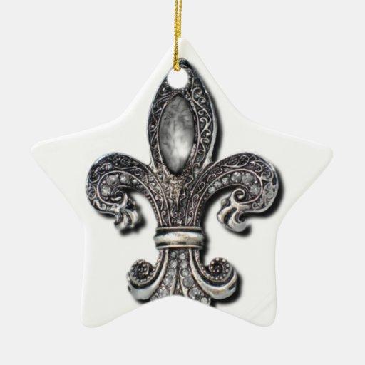 Flor De Lis Fleur De Lis symbol new orleans Double-Sided Star Ceramic Christmas Ornament