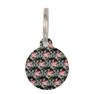 Flor de lis floral en negro placas de mascota