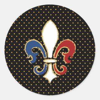 Flor de lis francesa de la bandera con oro pegatina redonda