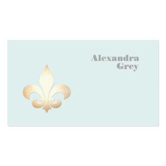 Flor de lis francesa de la hoja de oro azul clara tarjetas de visita