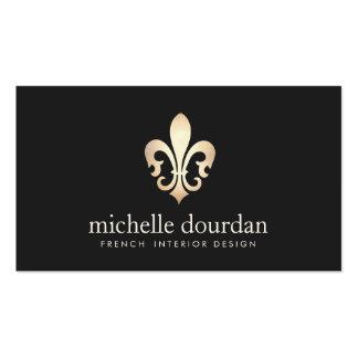 Flor de lis francesa elegante del oro del tarjetas de visita