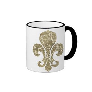 Flor de lis gastada tazas de café