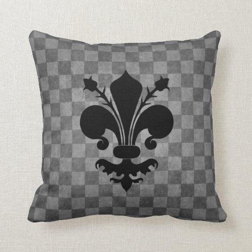 Flor de lis gris punky gótica del negro del almohada