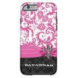 Flor de lis impresa personalizada damasco rosado funda de iPhone 6 tough