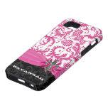 Flor de lis impresa personalizada damasco rosado iPhone 5 Case-Mate protector