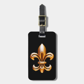 Flor de lis intrépida del oro etiquetas de equipaje