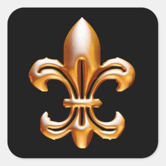 Flor de lis intrépida del oro pegatina cuadradas personalizadas