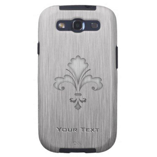 Flor de lis; Metal-mirada cepillada Samsung Galaxy S3 Funda