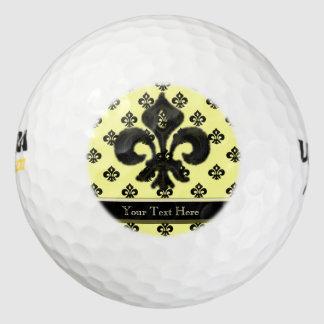 Flor de lis metálica (negro) pack de pelotas de golf