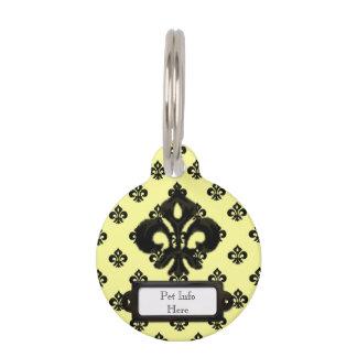Flor de lis metálica (negro) placa de mascota