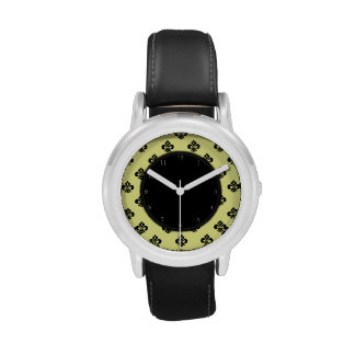 Flor de lis metálica (negro) relojes de mano