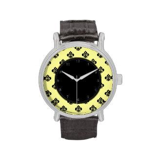 Flor de lis metálica (negro) reloj de mano