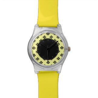 Flor de lis metálica (negro) relojes