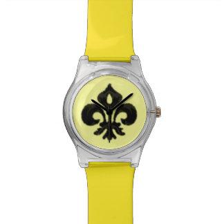 Flor de lis metálica (negro) reloj