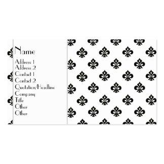 Flor de lis metálica (negro) plantilla de tarjeta de visita