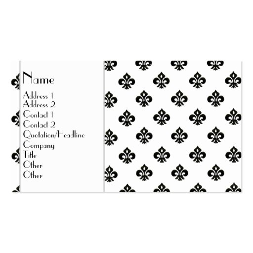 Flor de lis metálica (negro) tarjetas de visita