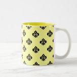 Flor de lis metálica (negro) tazas de café