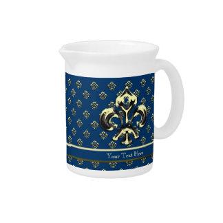 Flor de lis metálica (oro) jarra para bebida