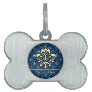Flor de lis metálica (oro) placa de mascota