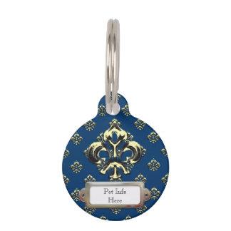 Flor de lis metálica (oro) placas de mascota
