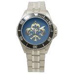 Flor de lis metálica (oro) reloj