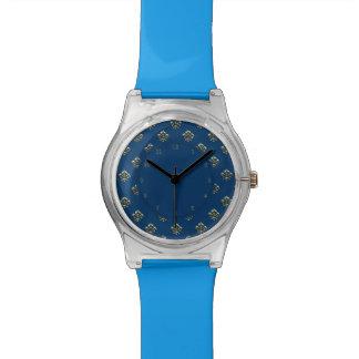 Flor de lis metálica (oro) reloj de mano